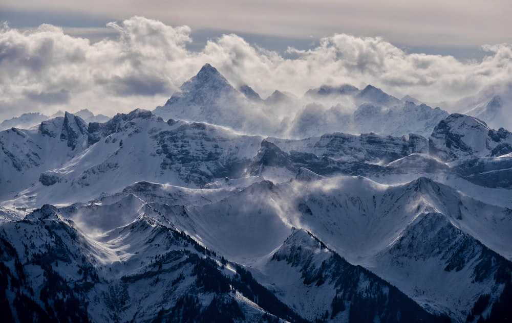 mountain cover with ice and fog