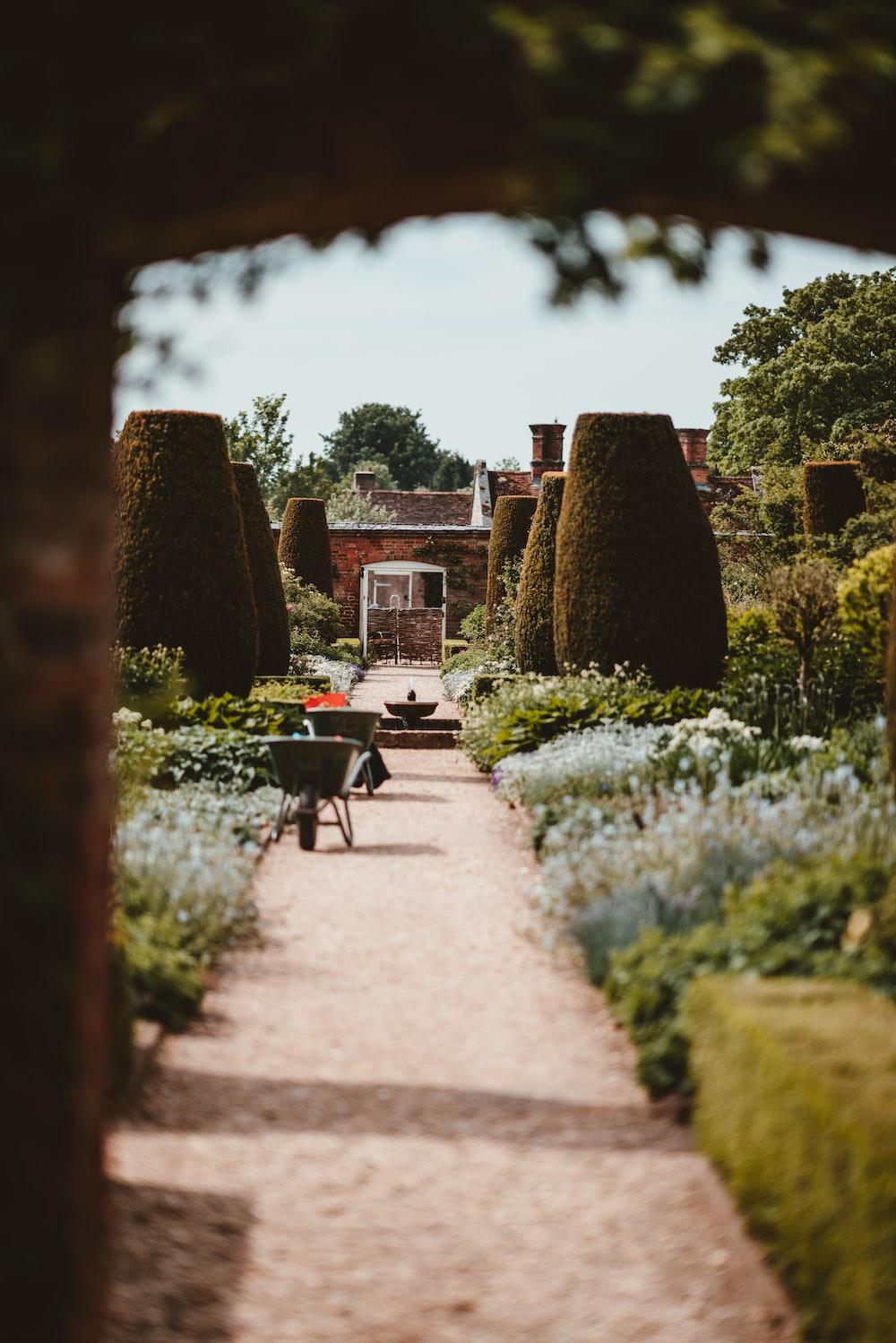 brown walkway beside green grass garden