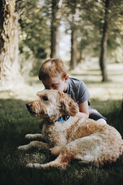 boy kissing dog laying on grass