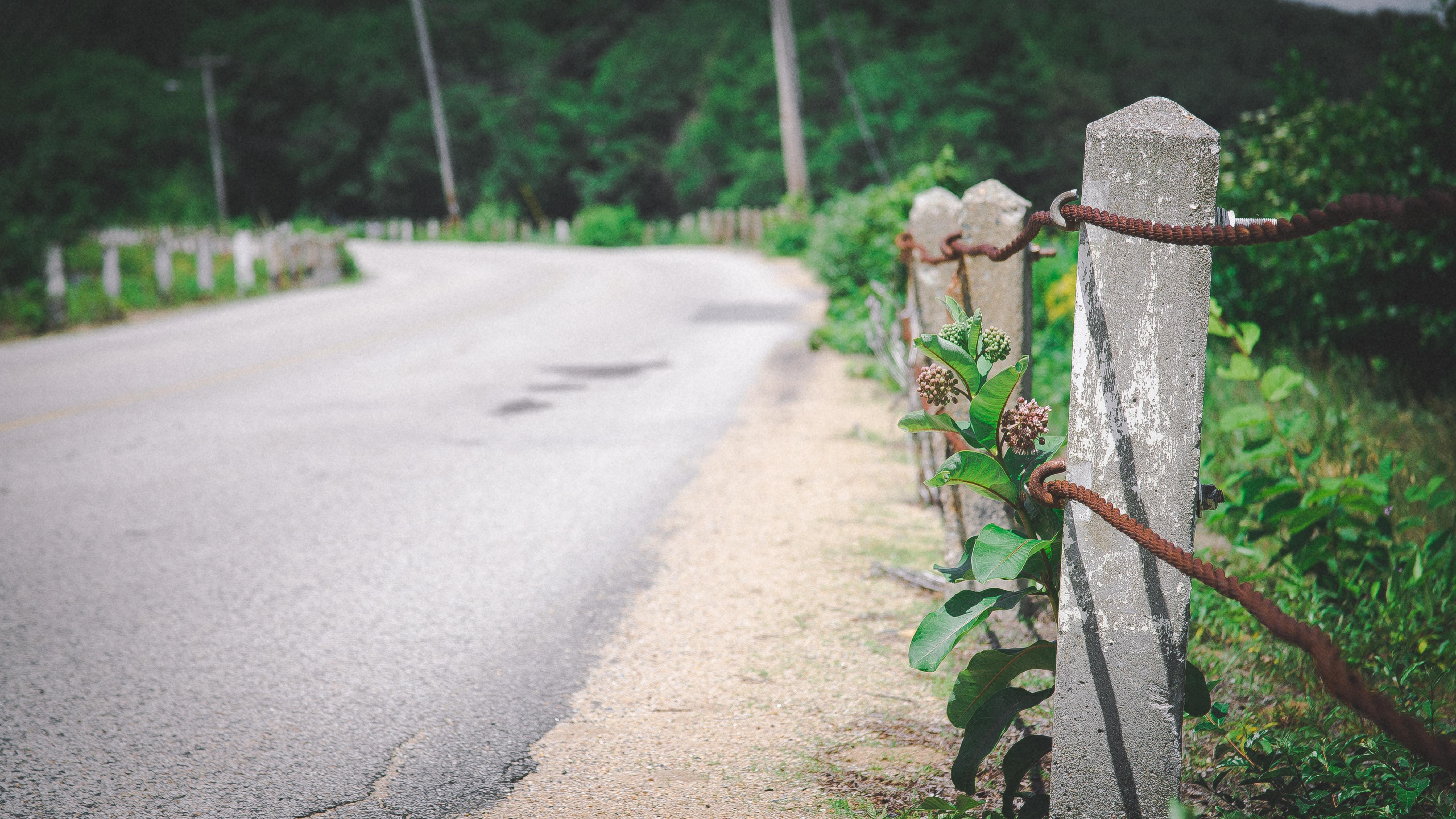 gray concrete fence post near road