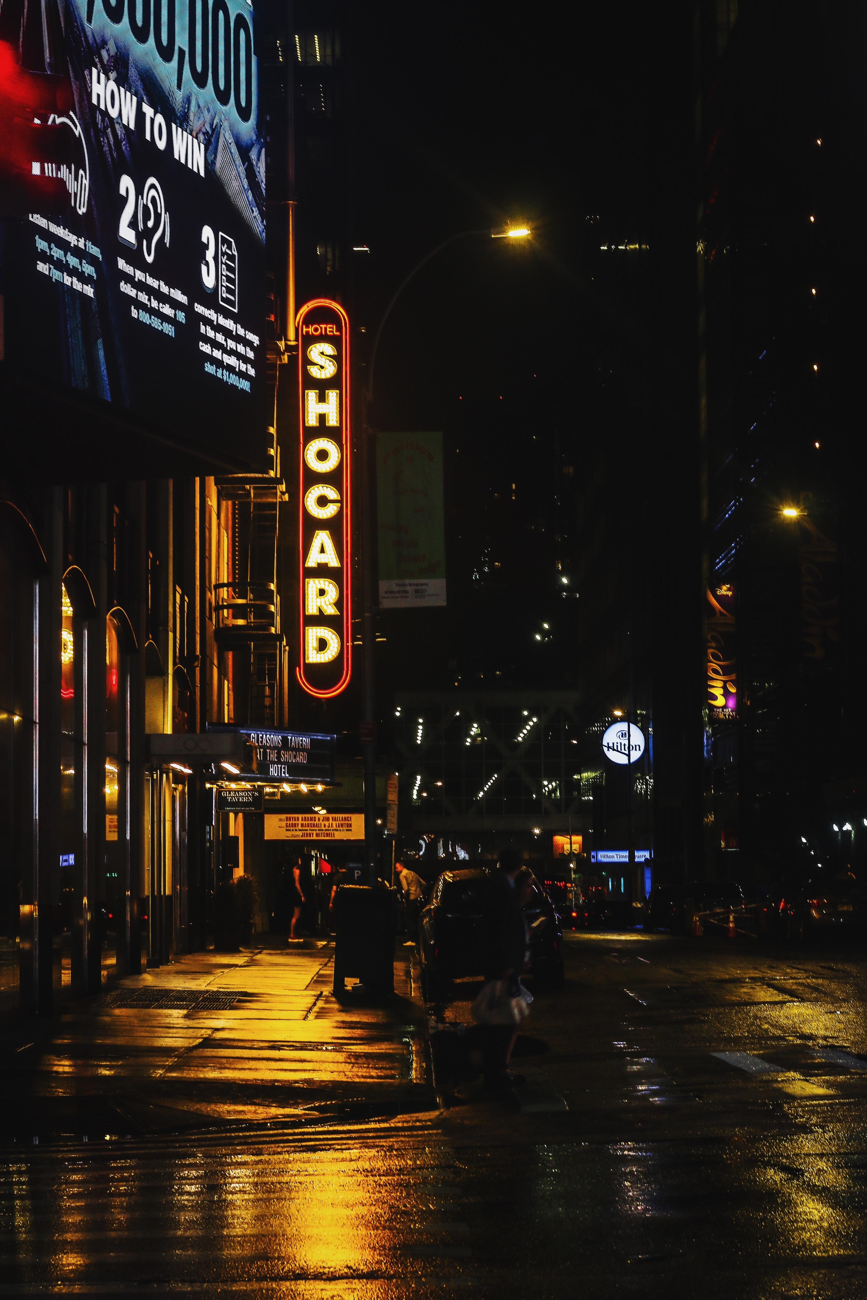 street Shocard signage at night