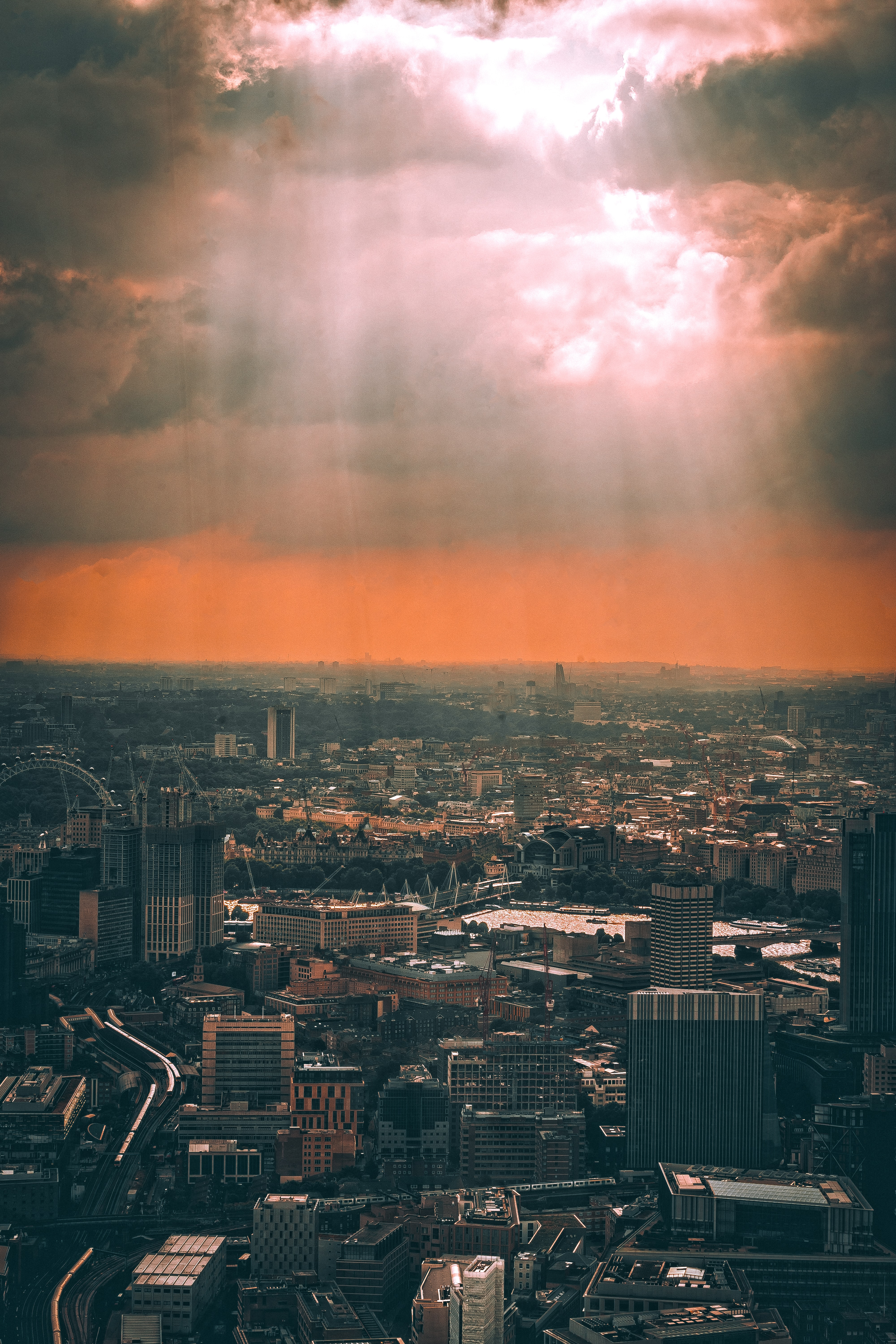 cityscape during golden hour aerial photography