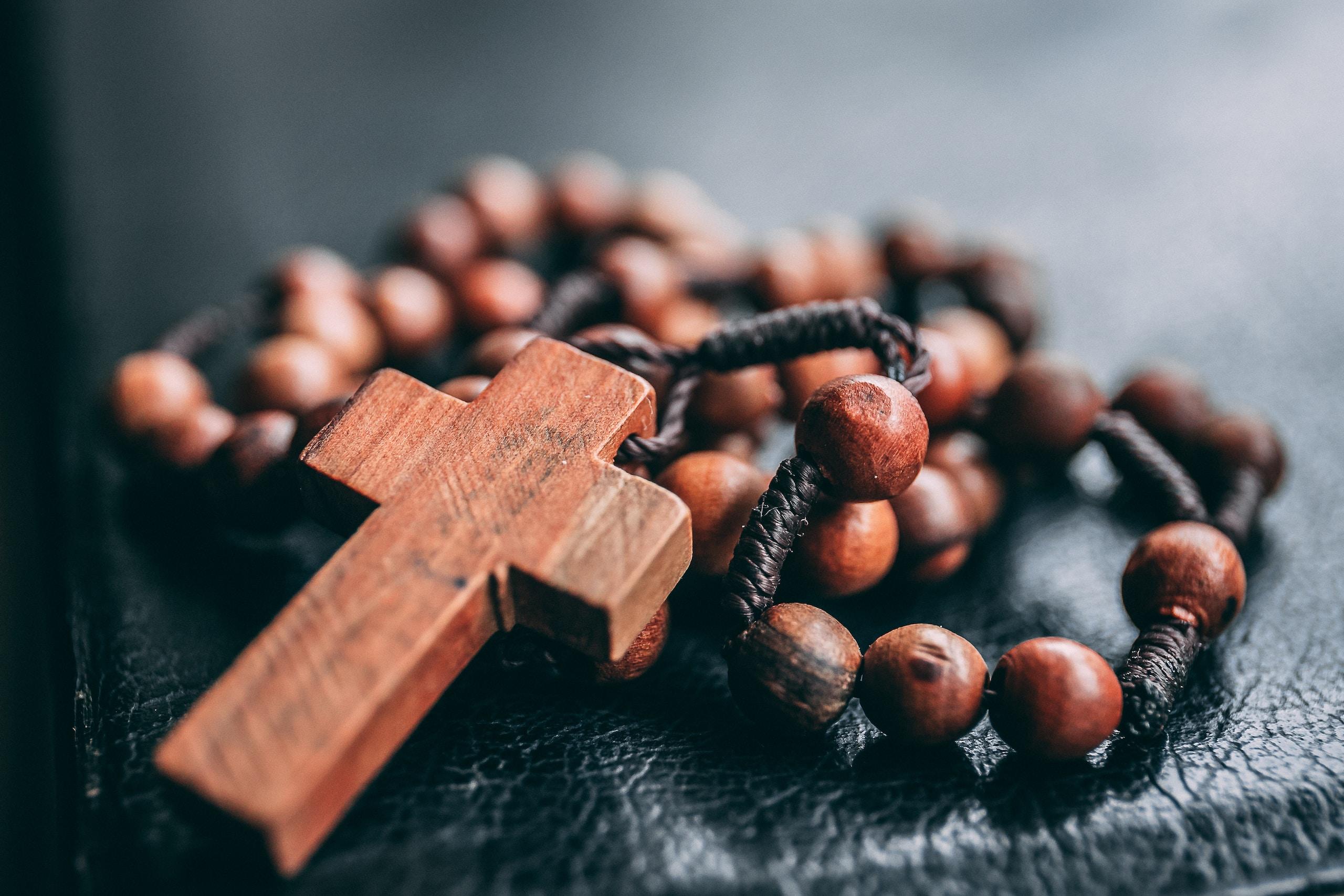religión, beaded brown rosary