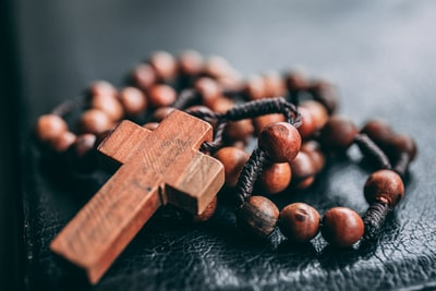 beaded brown rosary religion teams background