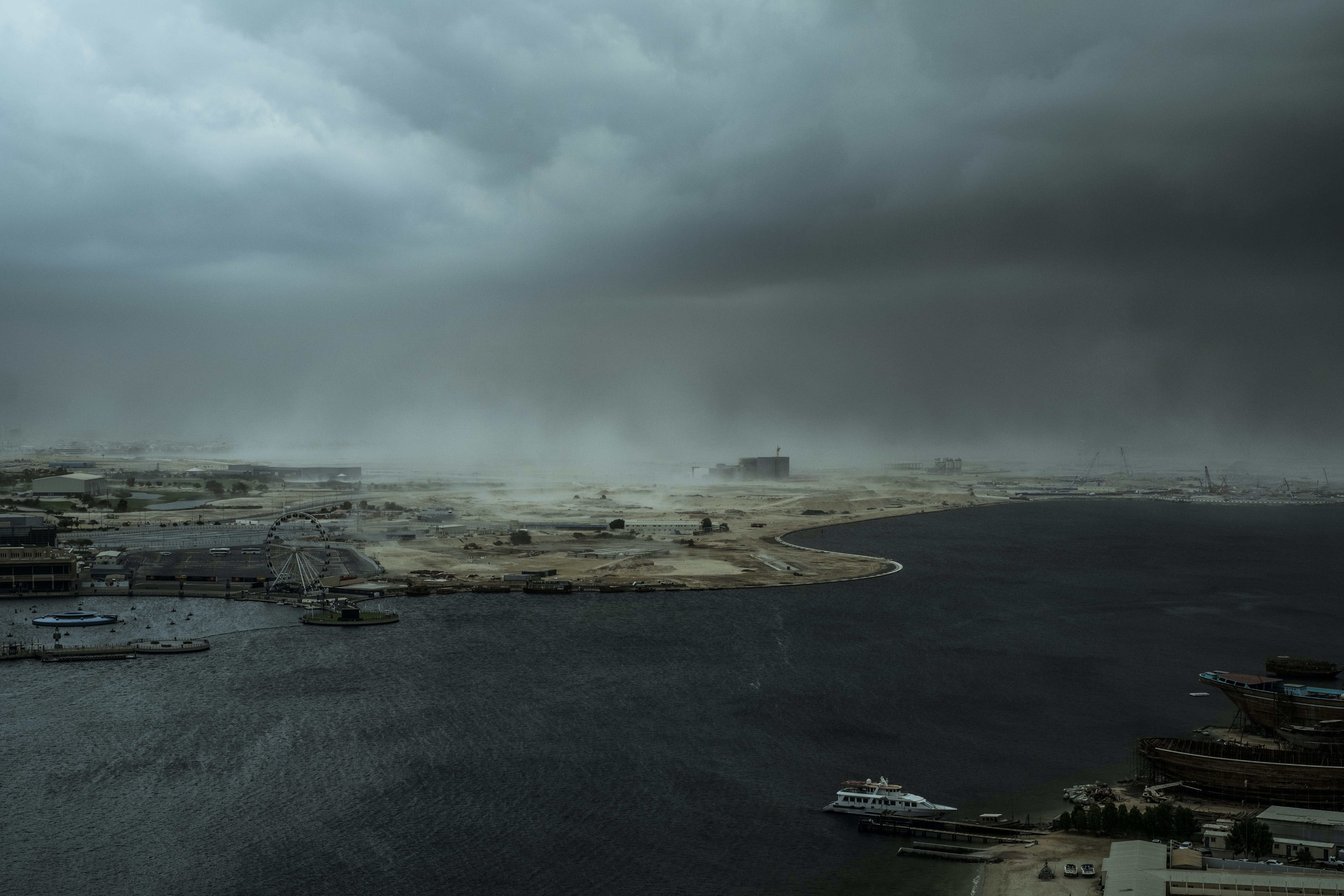 aerial photo on sea port with gloomy clouds