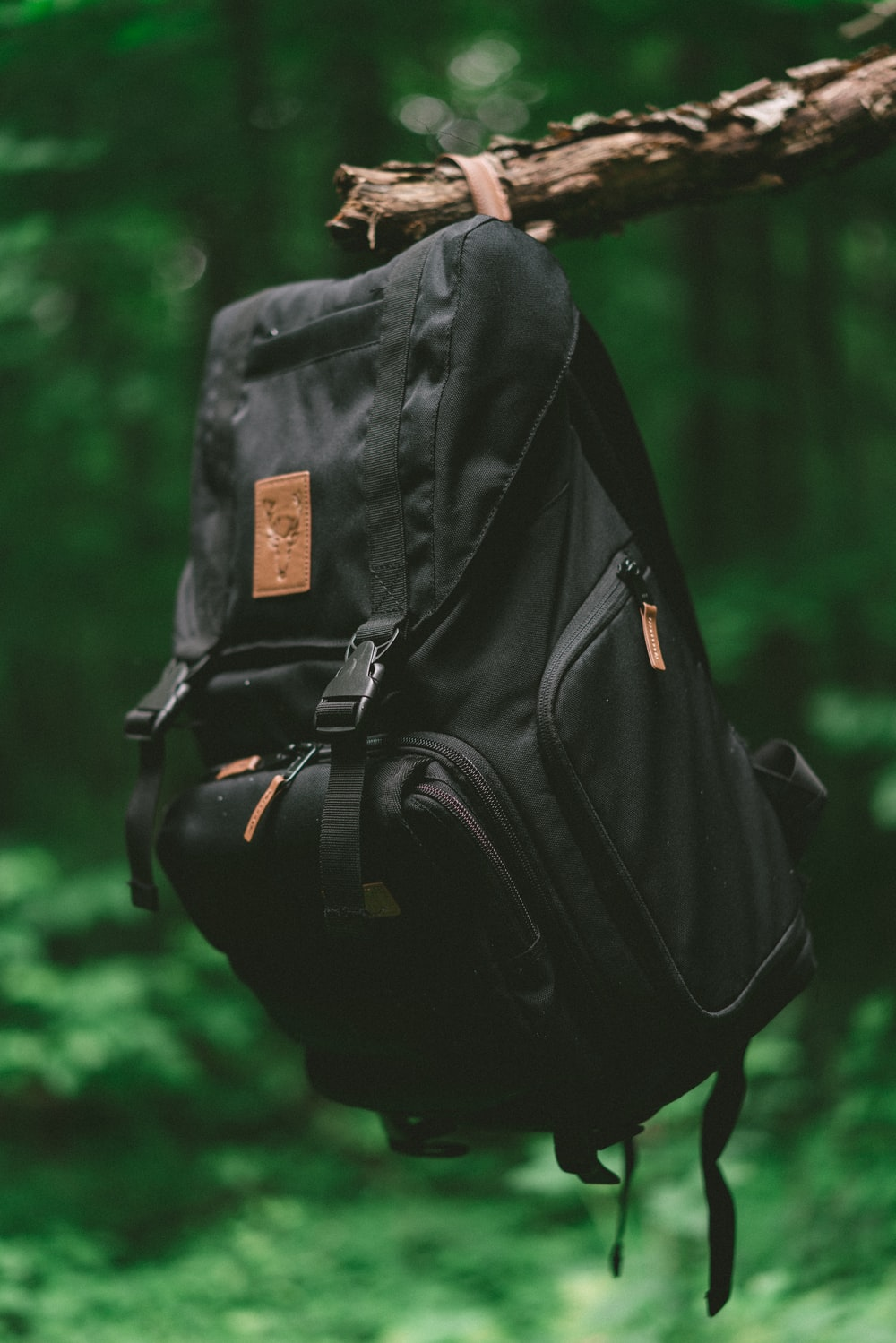 selective focus photo of black backpack hanging on brown tree branch