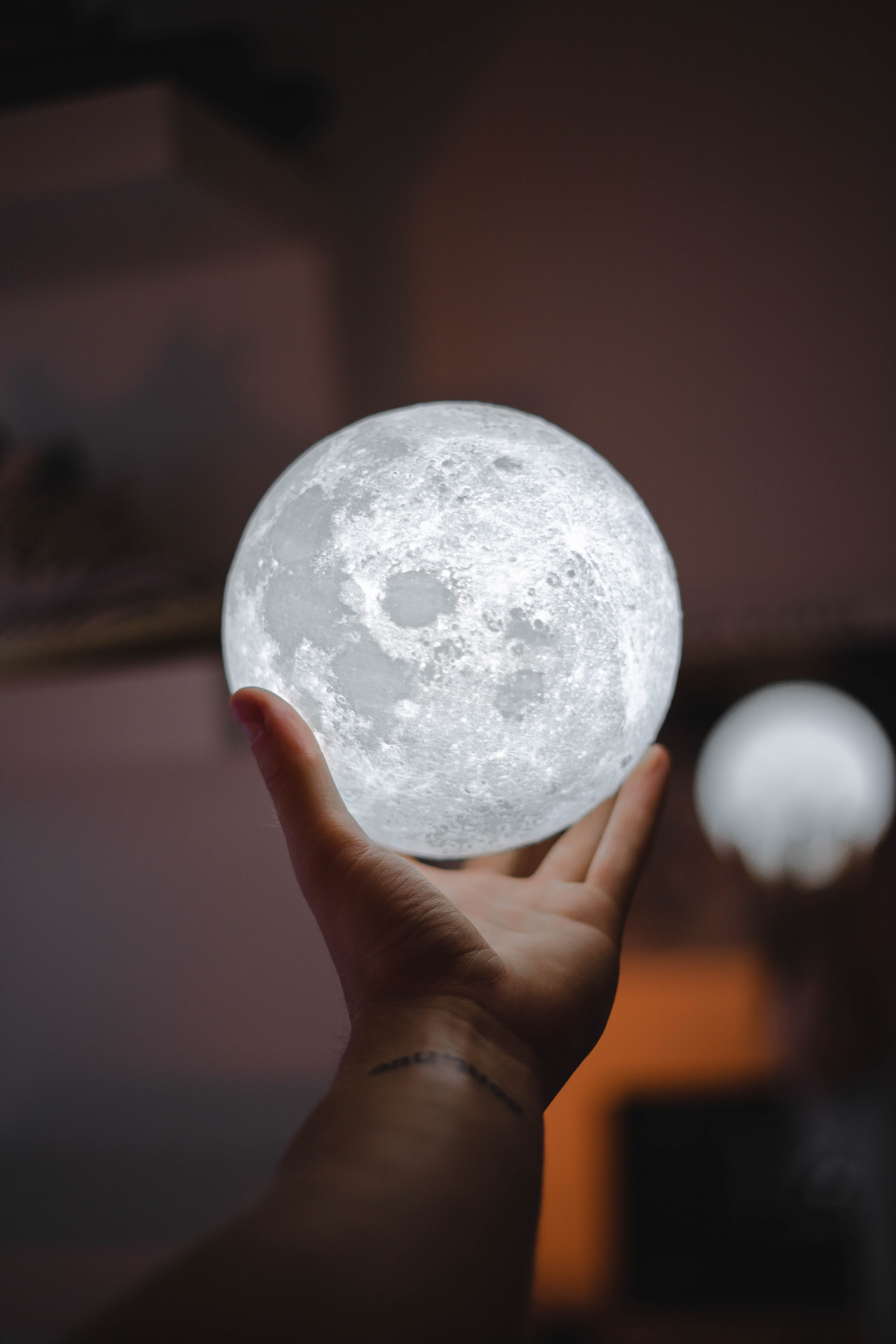 person holding full-moon lamp