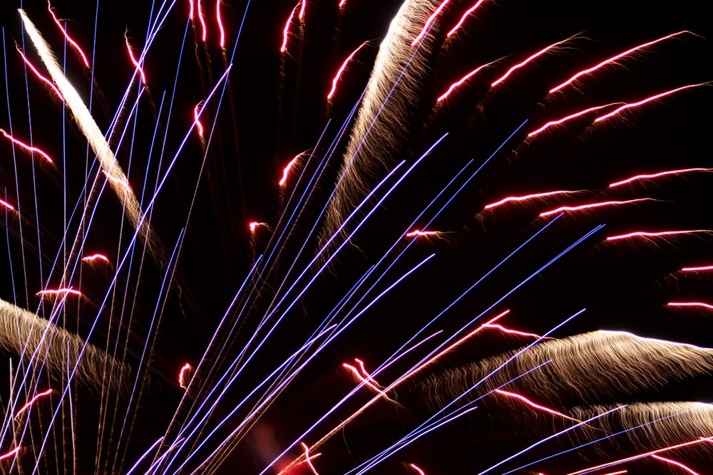 long exposure photo of fireworks