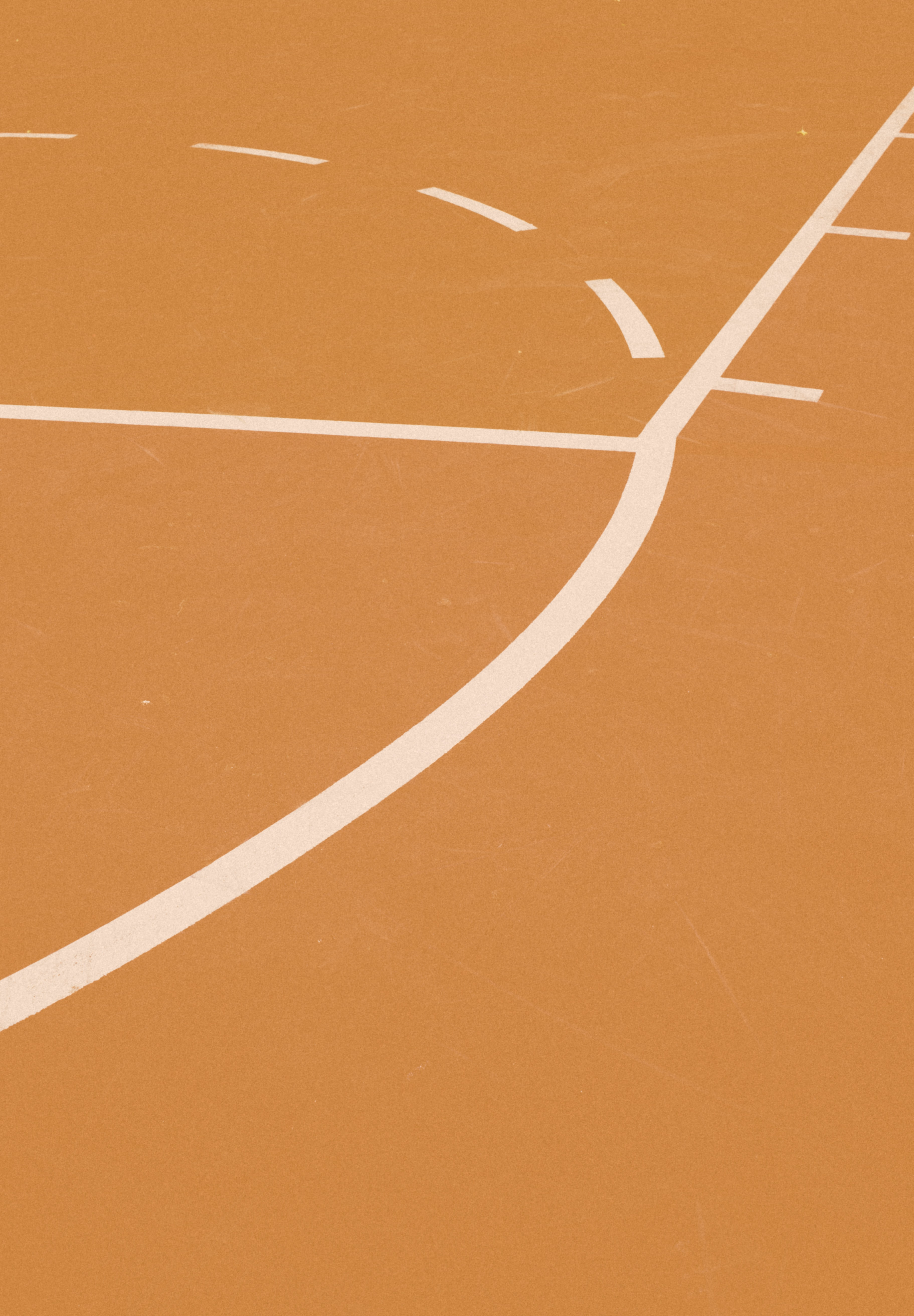 orange and white basketball court lines