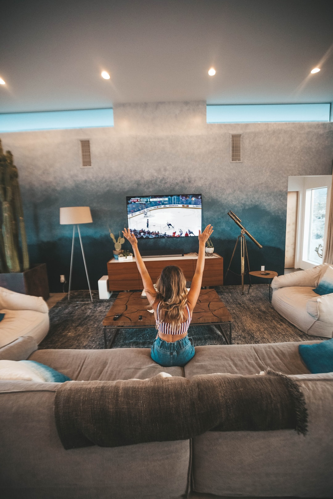 My home town Capitals won their first Stanley Cup as my girlfriend and I were staying in Joshua Tree for a retreat/getaway. I took a picture of her celebrating during the 3rd period as the game was winding down to commemorate the moment.