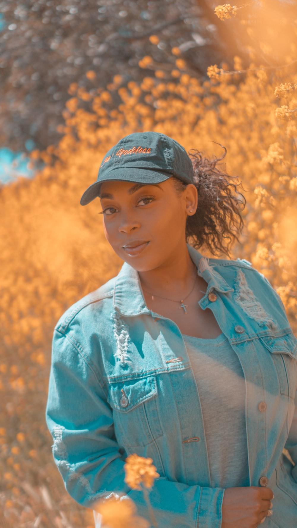 woman wearing blue cap