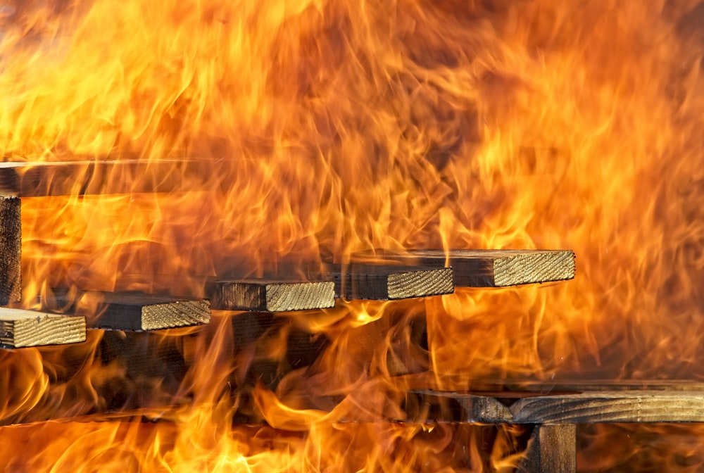 burning wooden stair