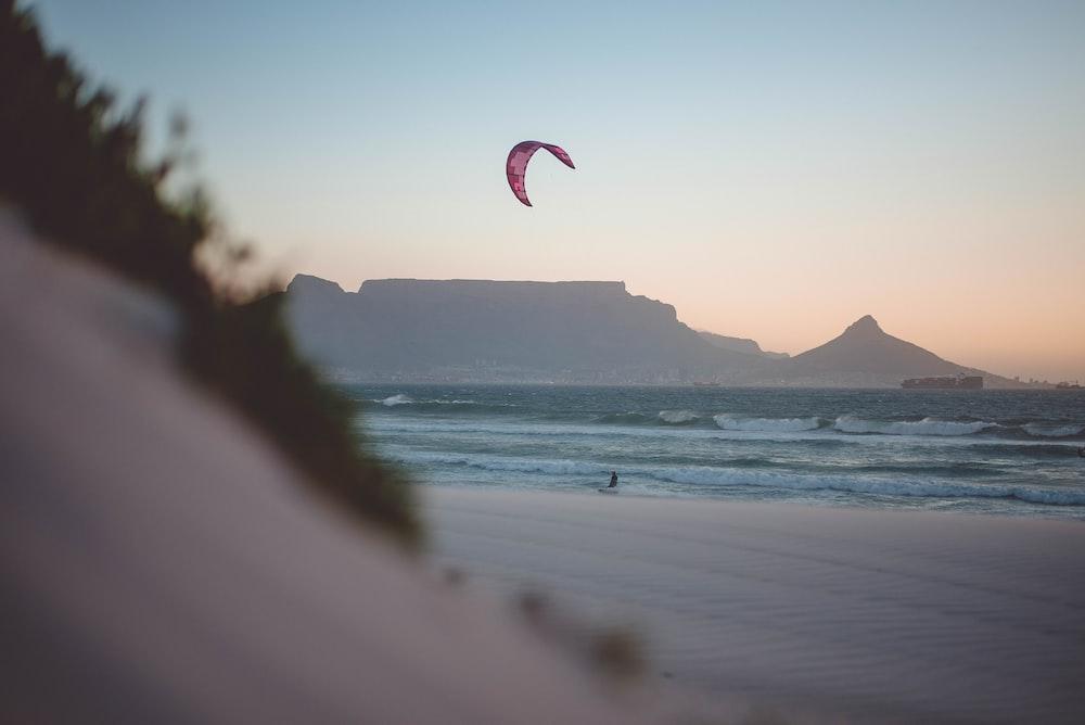 person riding parachute landing on seashore during daytime