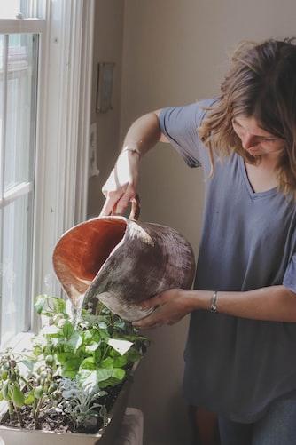 Une femme qui arrose ses plantes. | Photo : Unsplash
