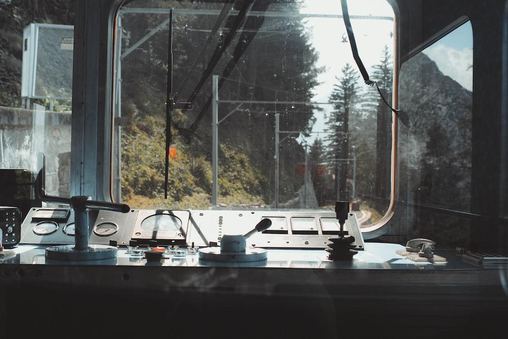 black and gray train deck