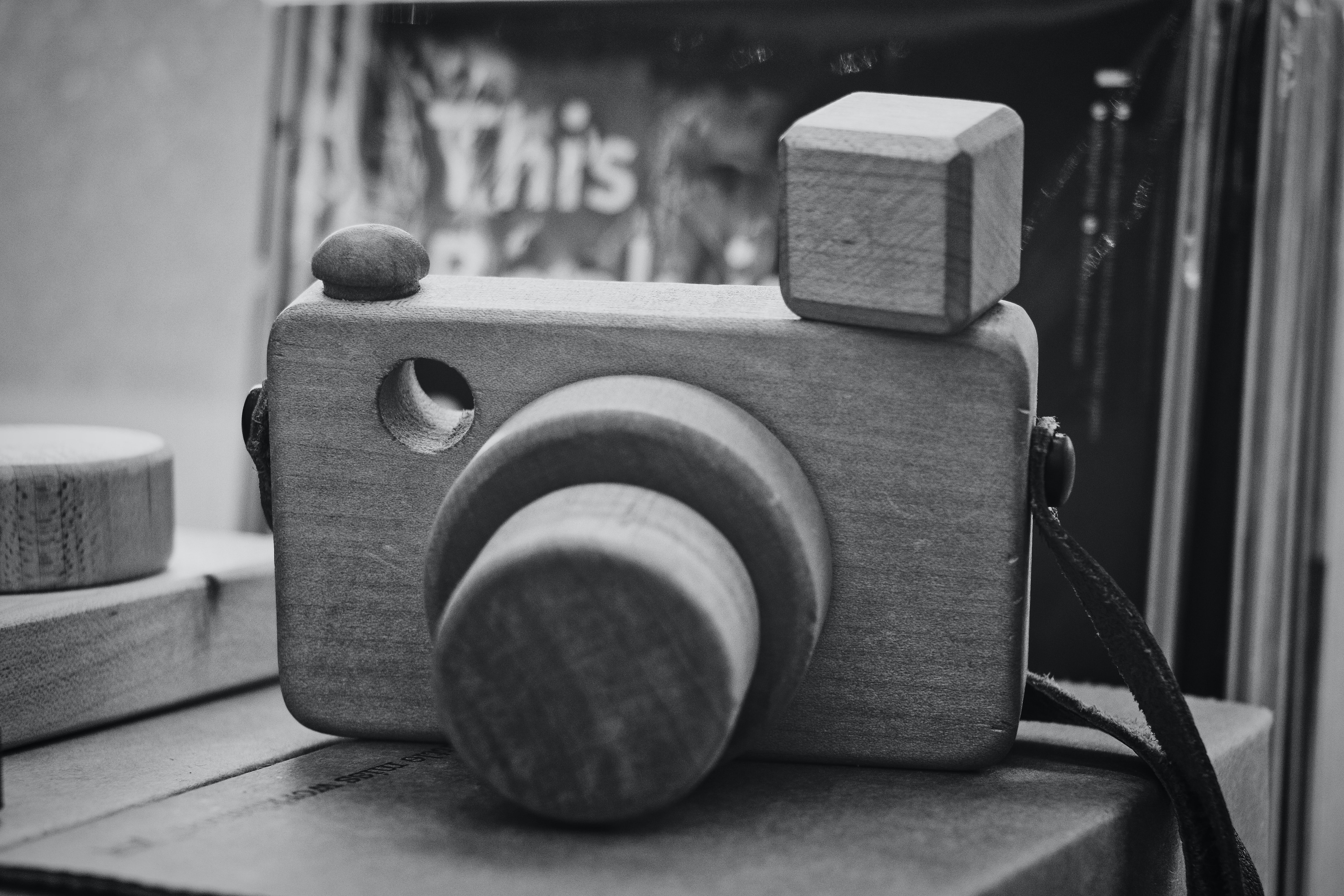 gray DSLR camera miniature