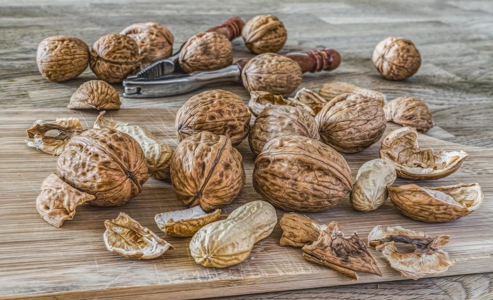 peanut lot on brown wooden area