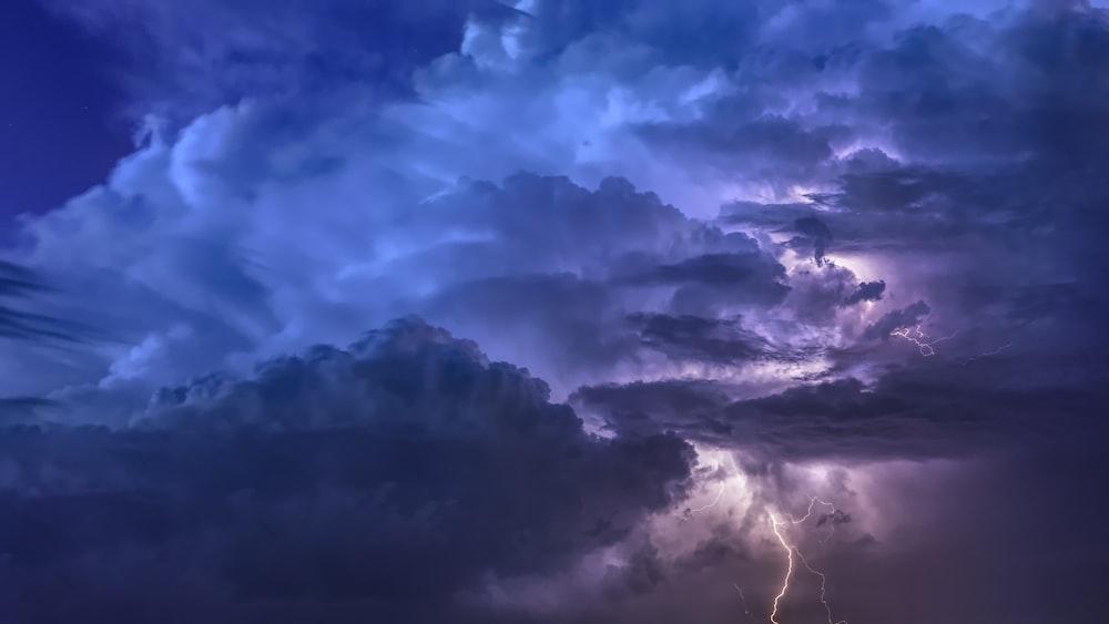lightning strike under cloudy sky