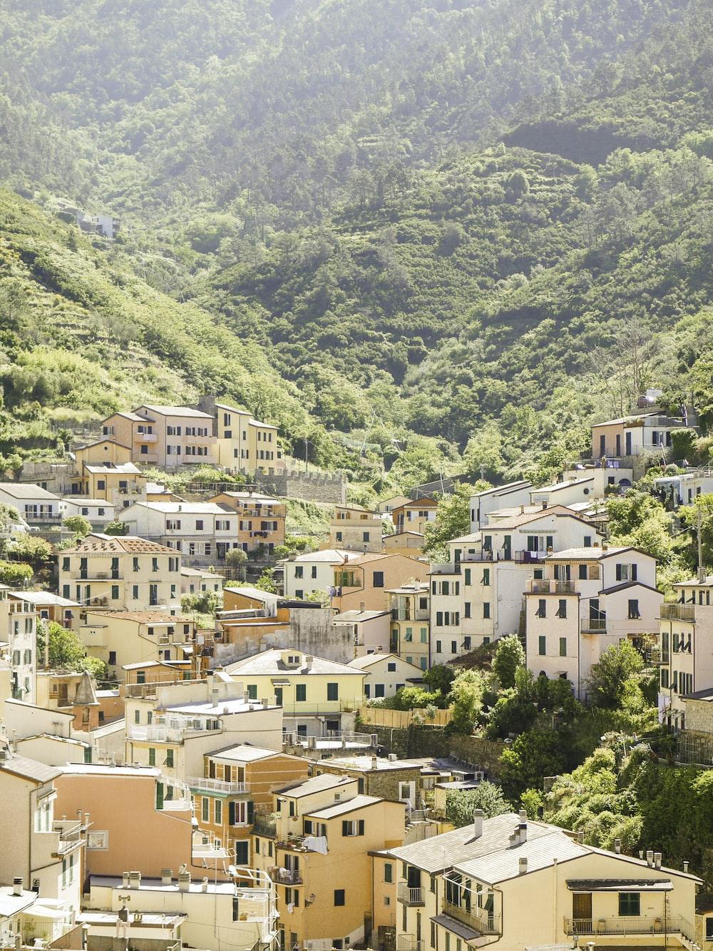 beige concrete village in mountain valley