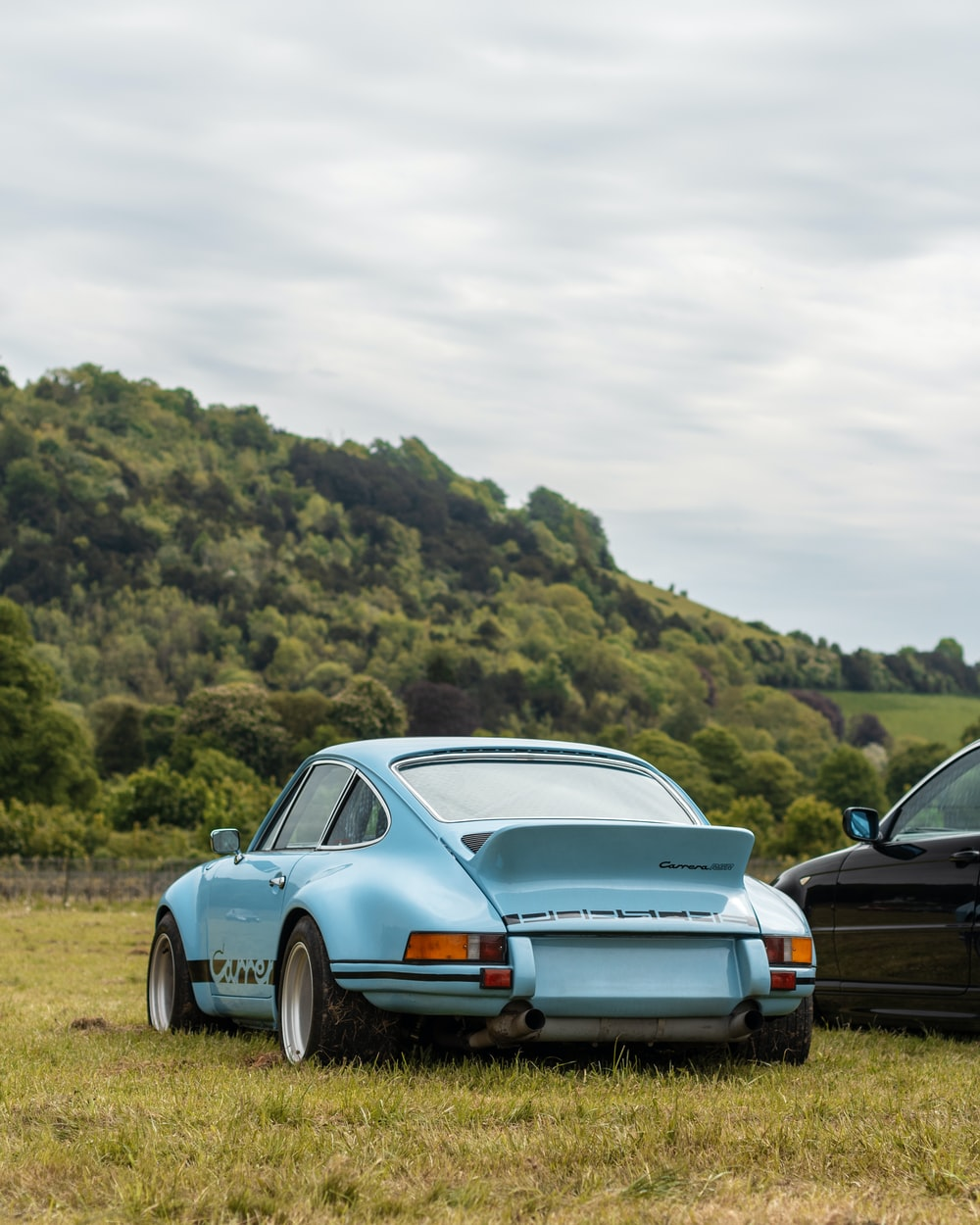 blue and black cars parked on green grass under white cloudy sky