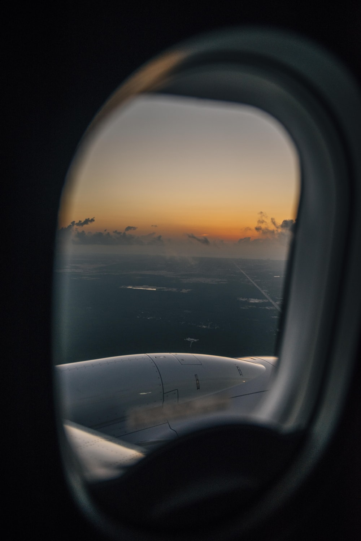 ocean view from plane's window
