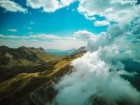 mountain range in mist
