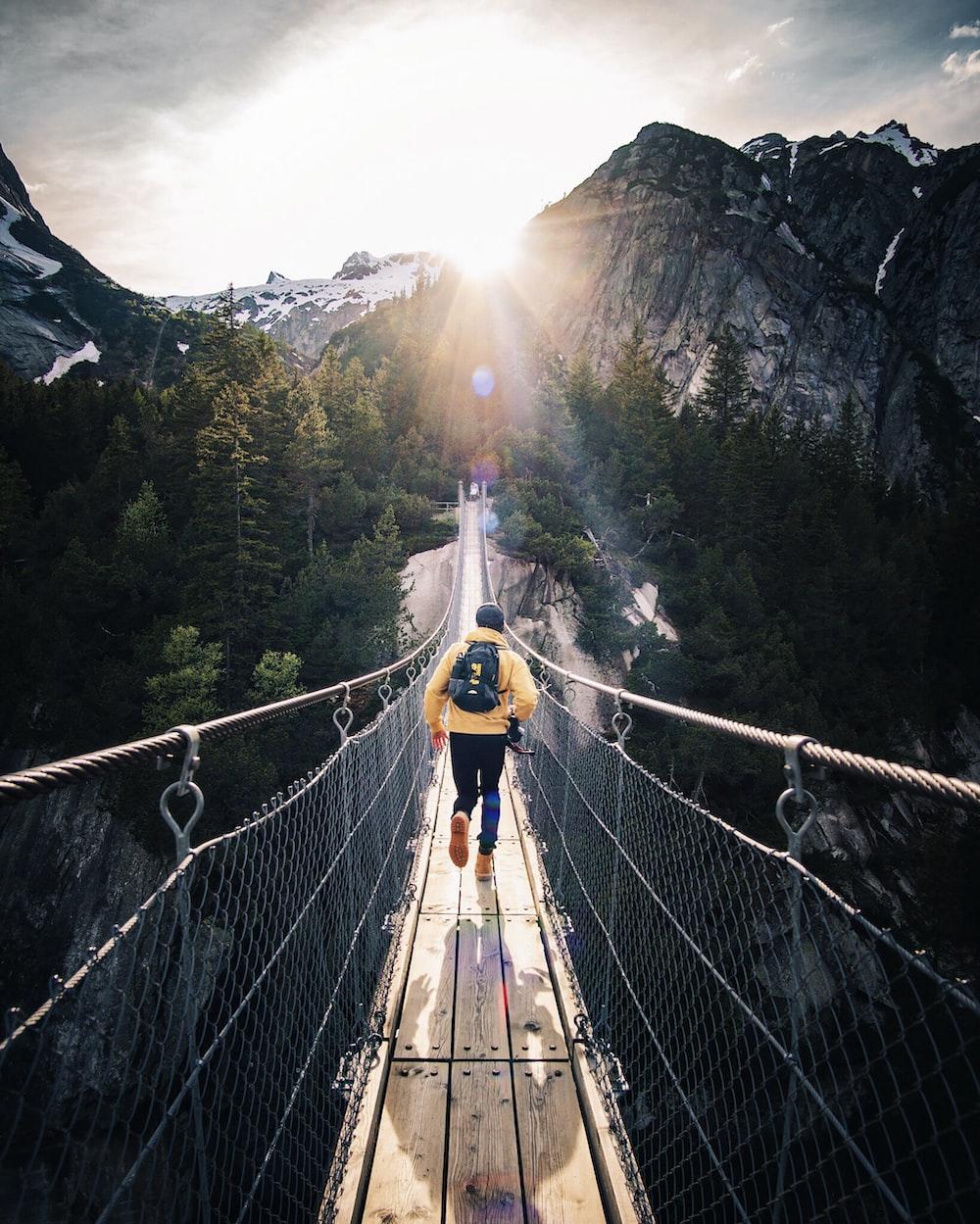 running man on bridge