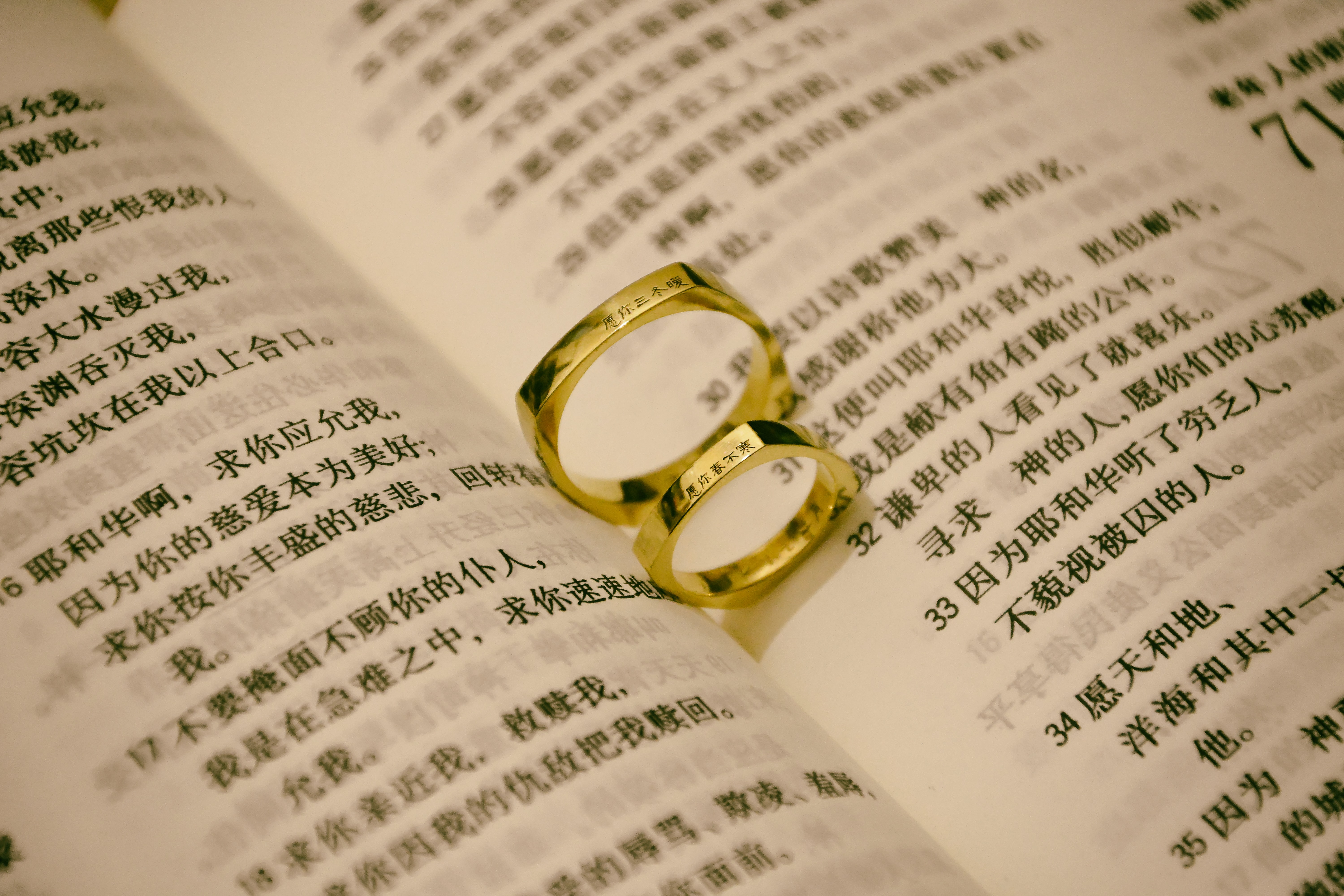 gold-colored rings on book