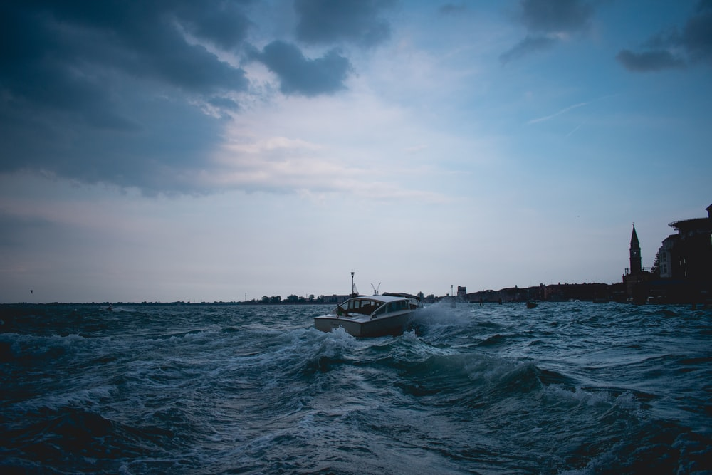ship on body of water under dark sky