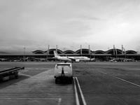 grayscale photo of airlines airplane
