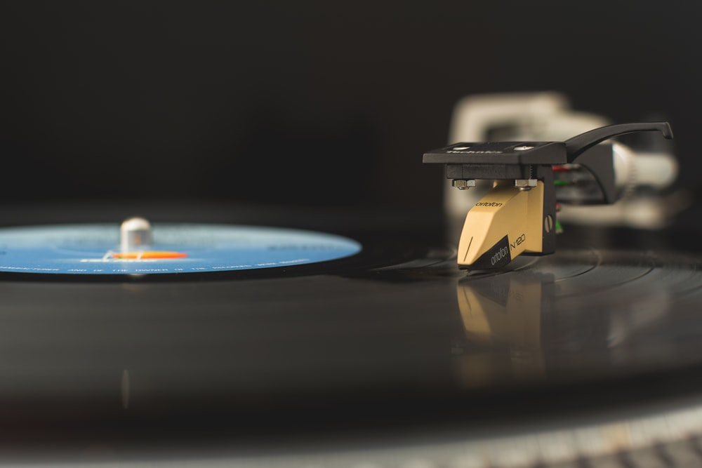 vinyl album spinning on turn table