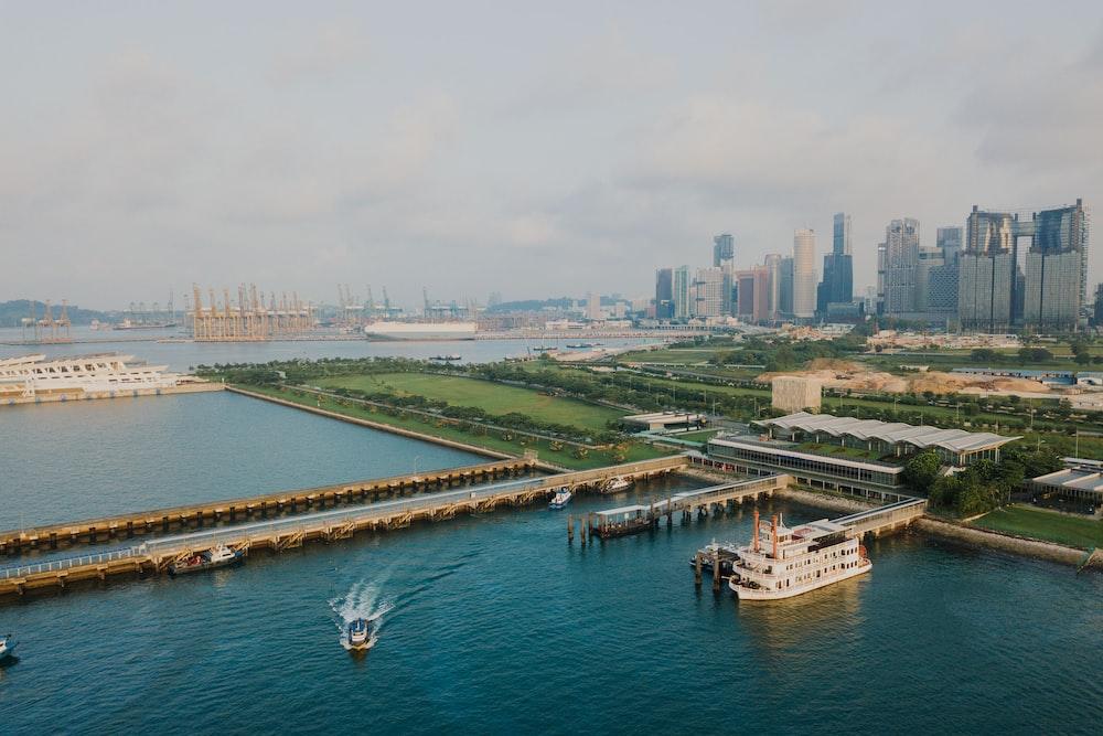 bird's eye view of ship dock