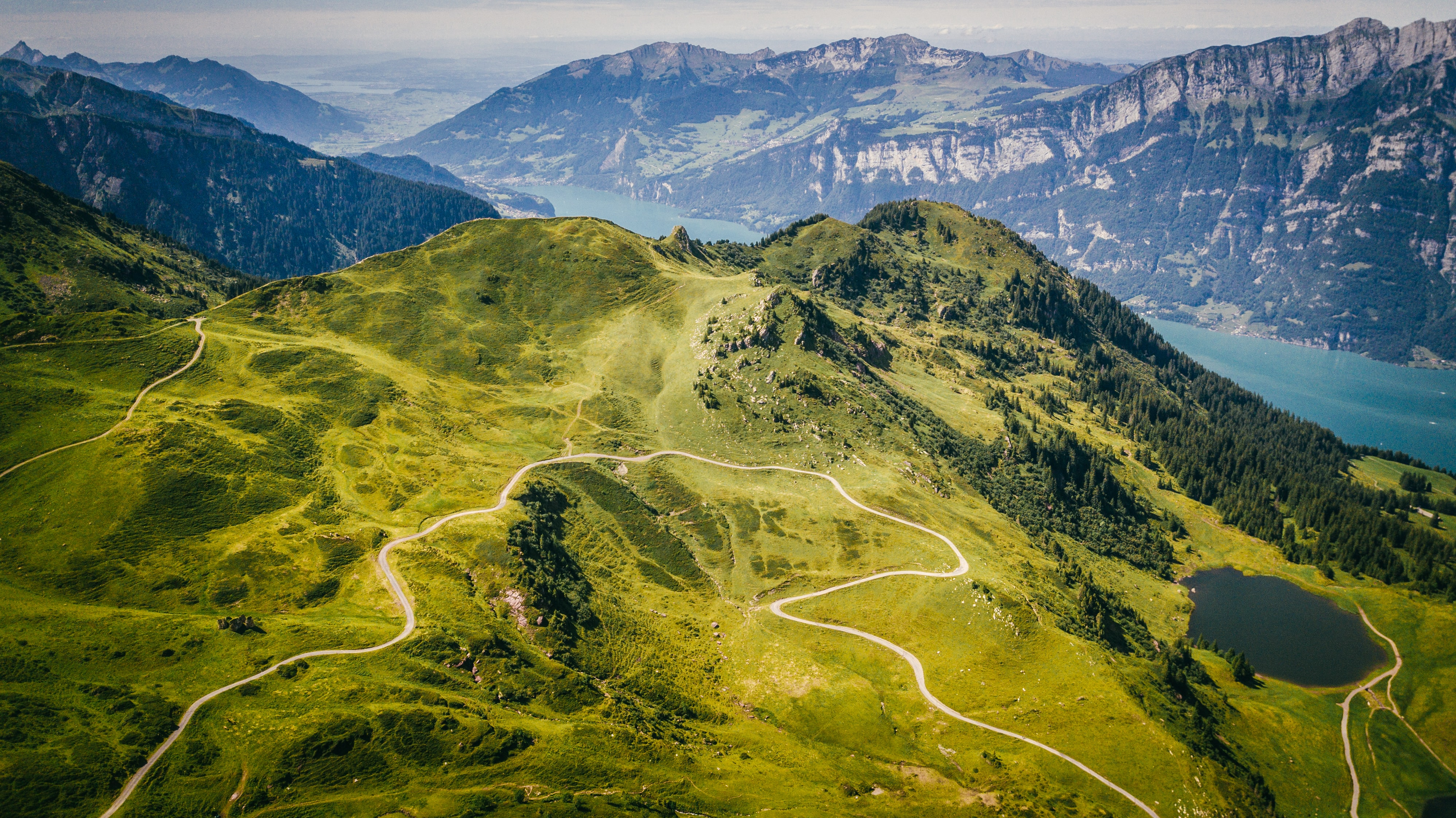 mountain with green grass and tree aerial photography