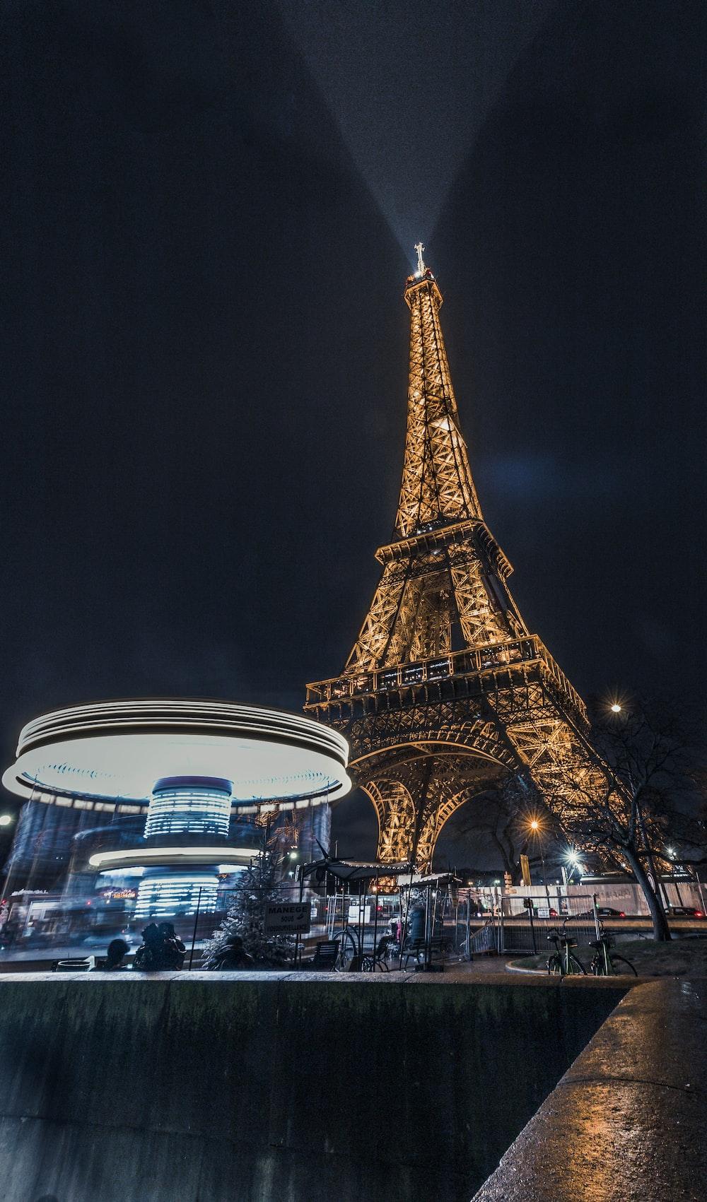 Eiffel Tower, Paris turned on lights