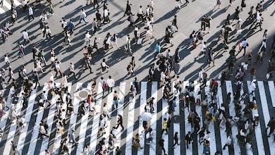 aerial view of people walking on raod
