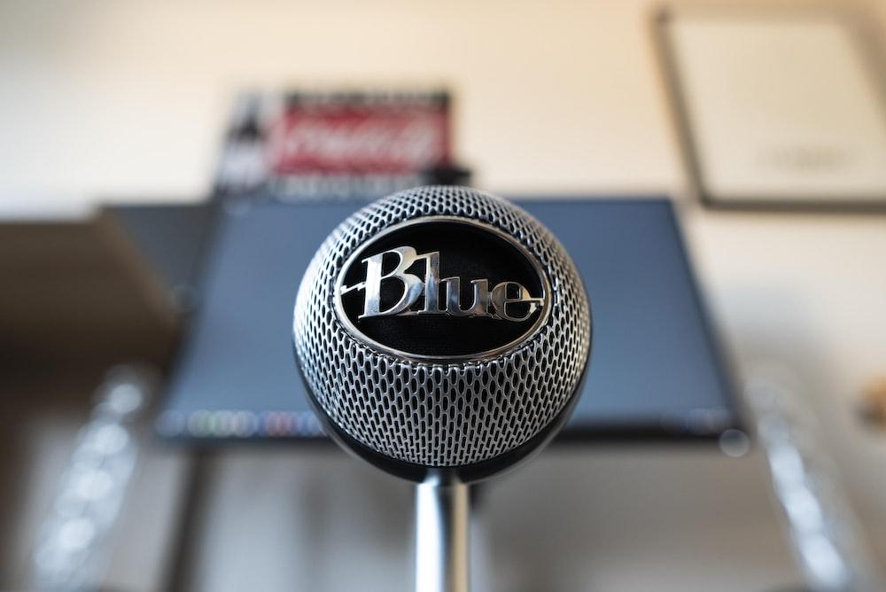 gray Blue condenser microphone