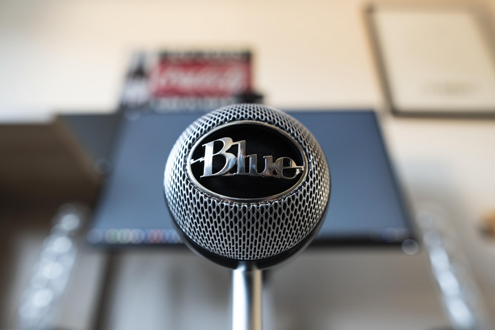 gray Blue condenser microphone
