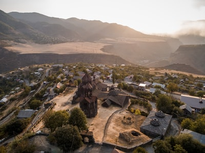 aerial photo of a village during daytime armenia zoom background