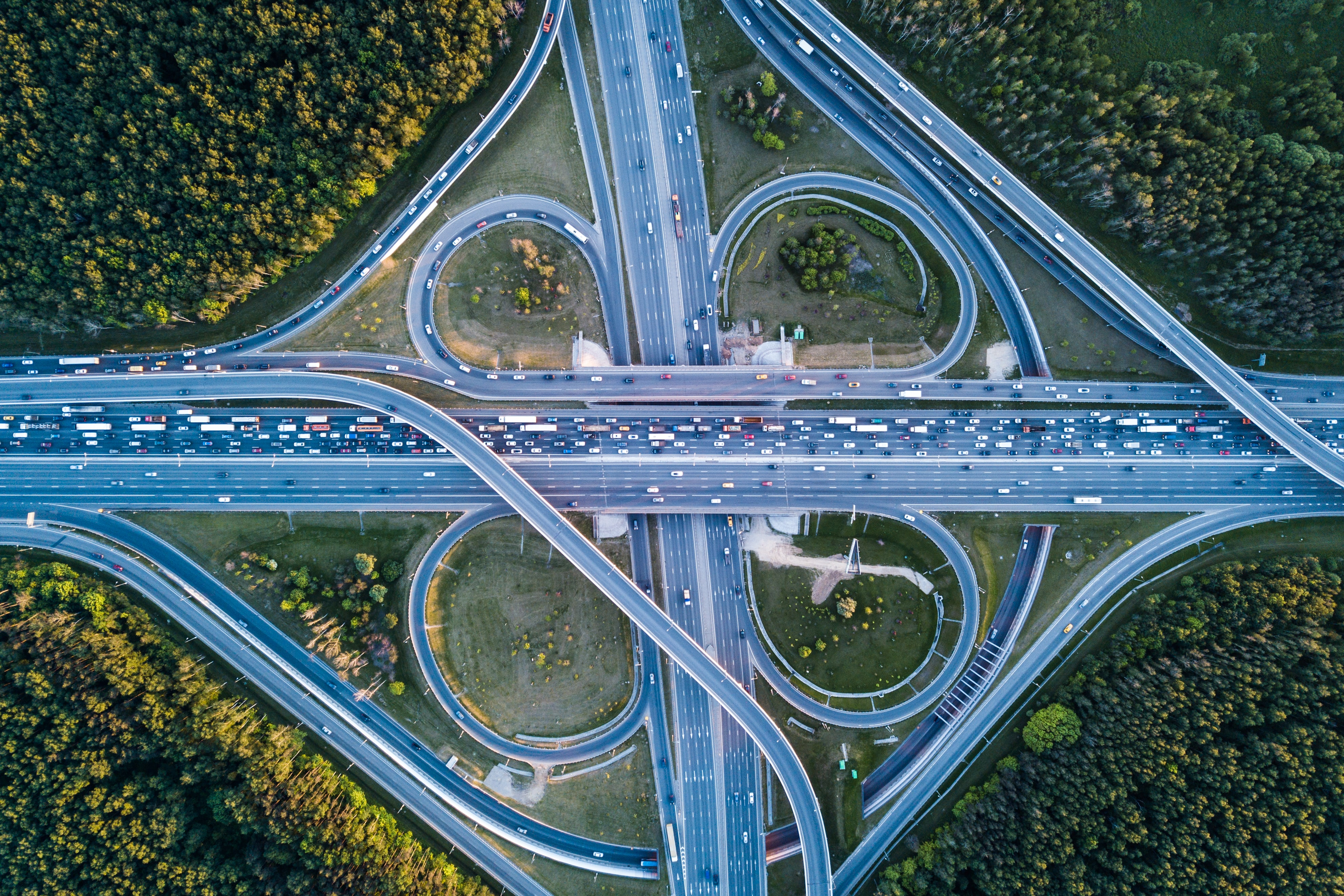 top view of road with cars