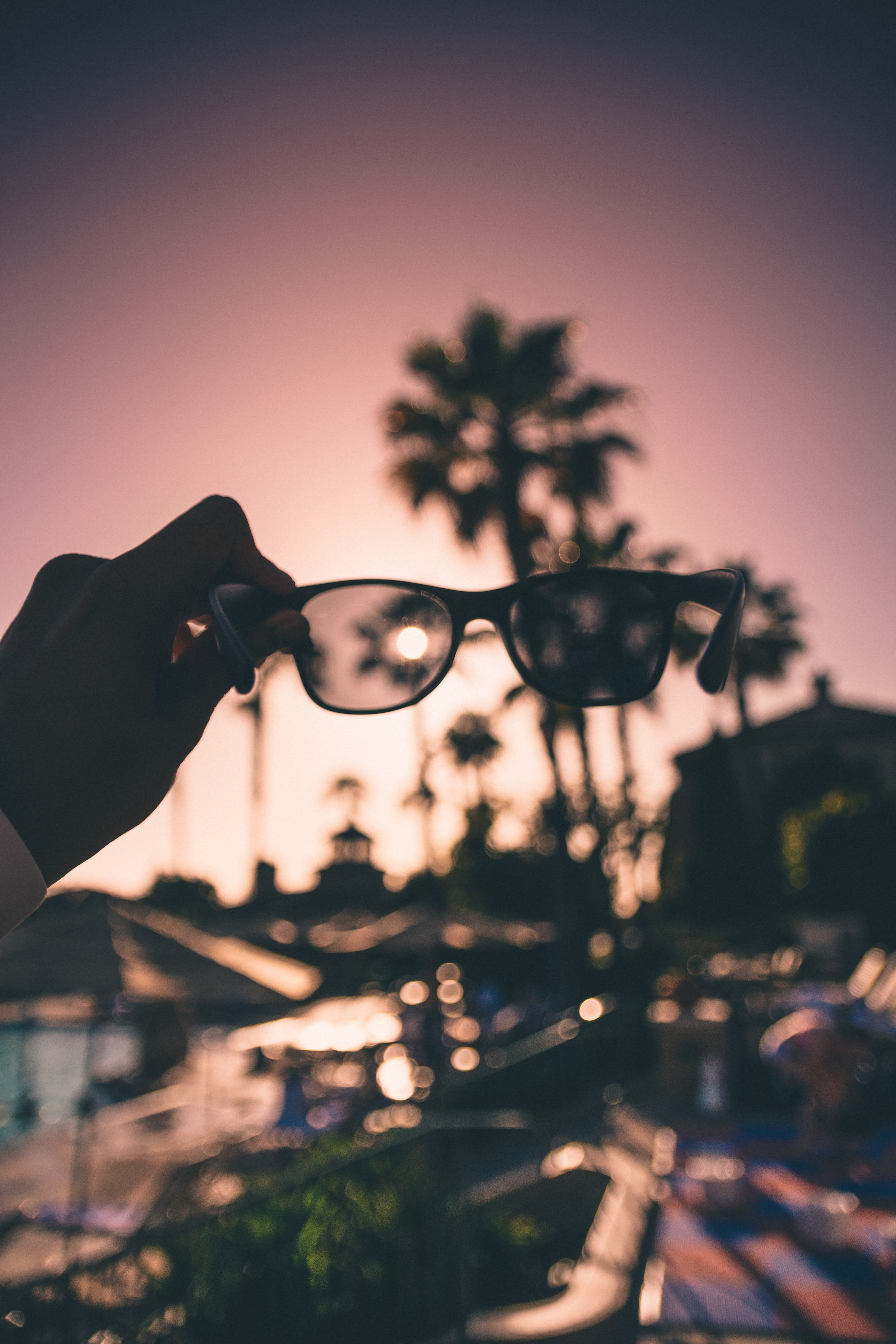 person holding black framed sunglasses