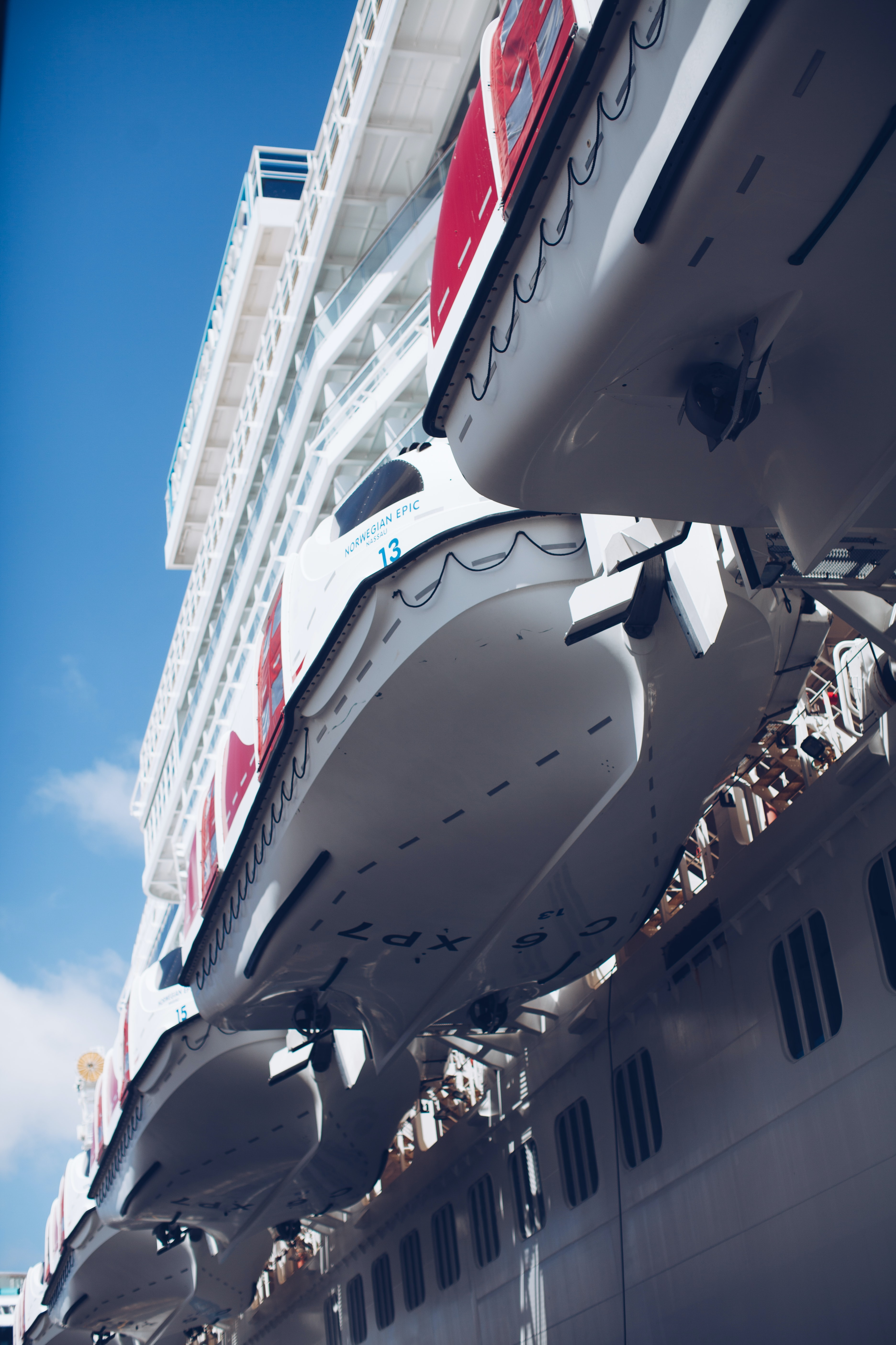 low angle photography of white cruise ship