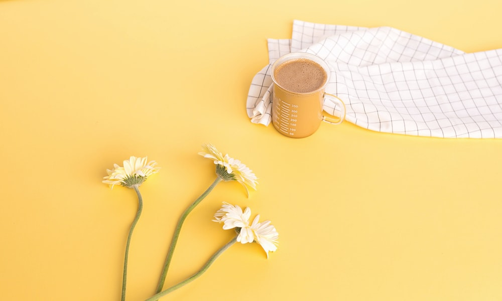 white flowers near clear glass mug on yellow table