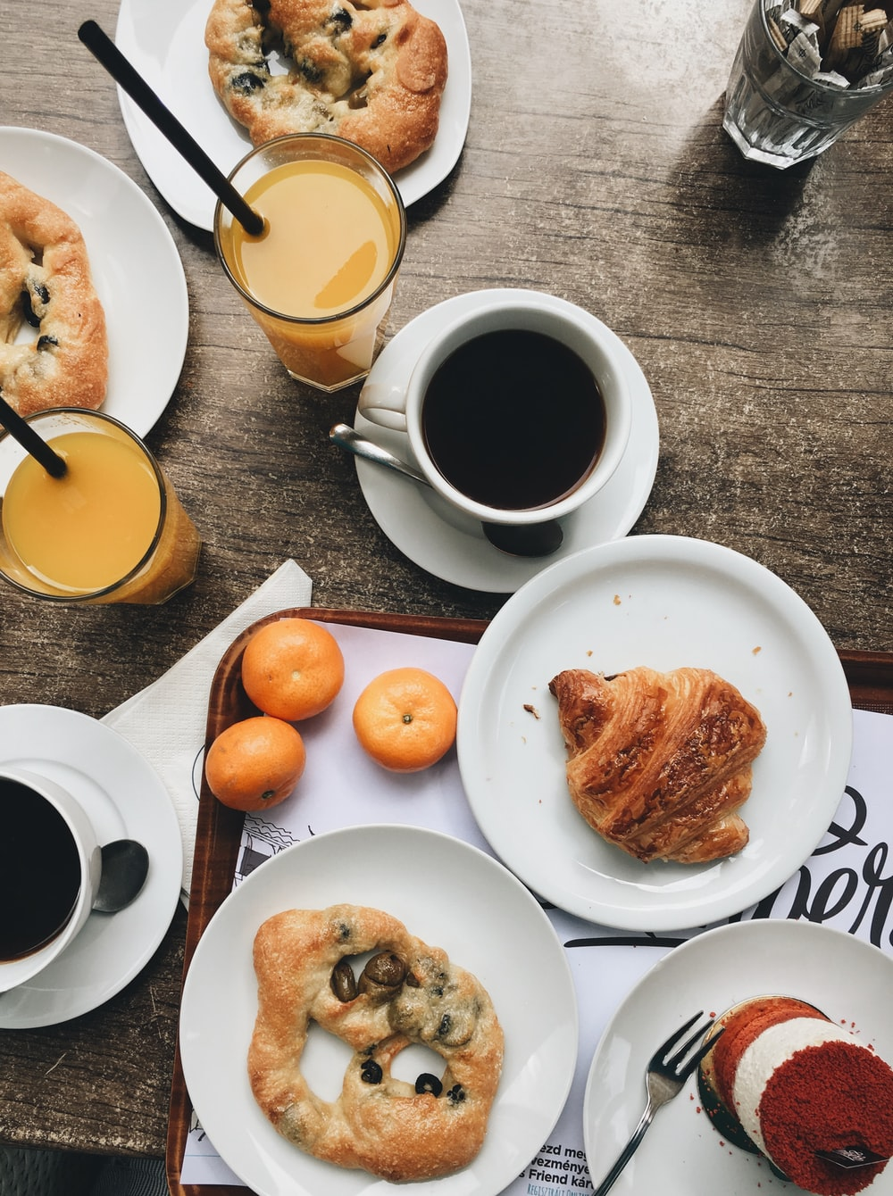 assorted bread with coffee and drinks
