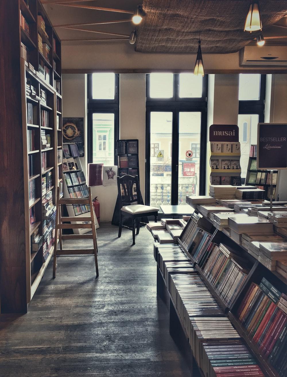 books inside bookstore