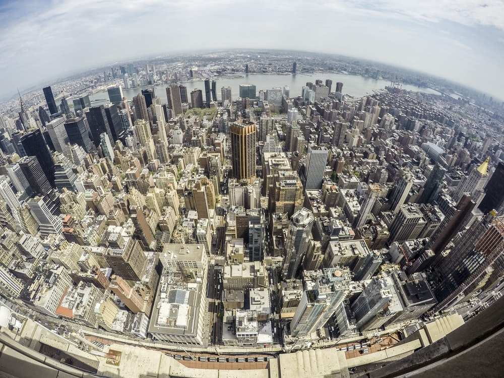 fish eye photography of city during day