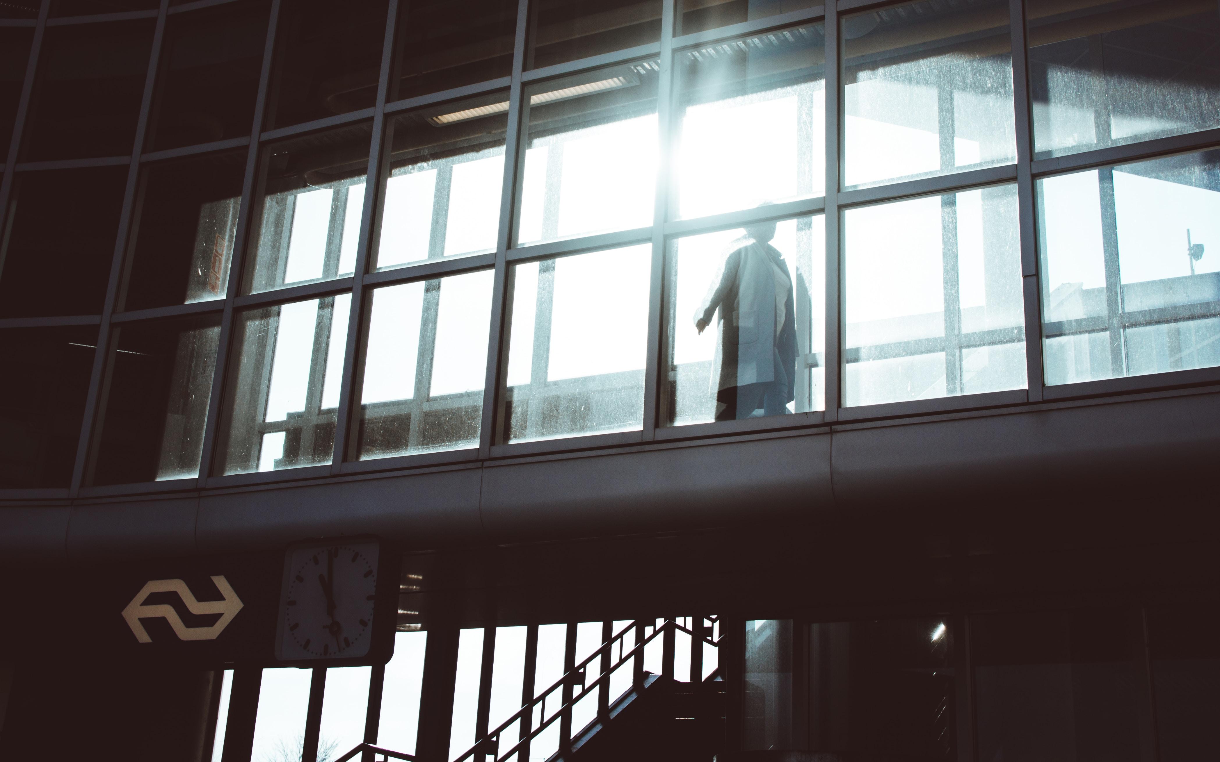person walking hallway
