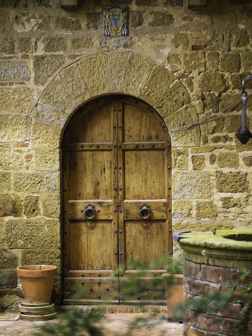 closed door on a brick building