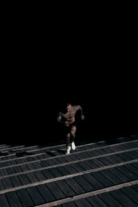 man running on staircase
