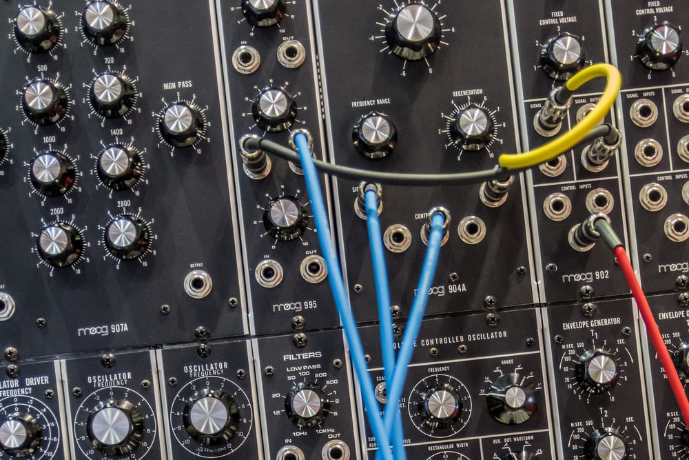 photo of black and blue audio mixer