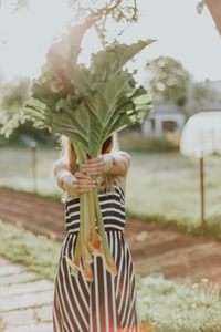 woman holding green vegetable